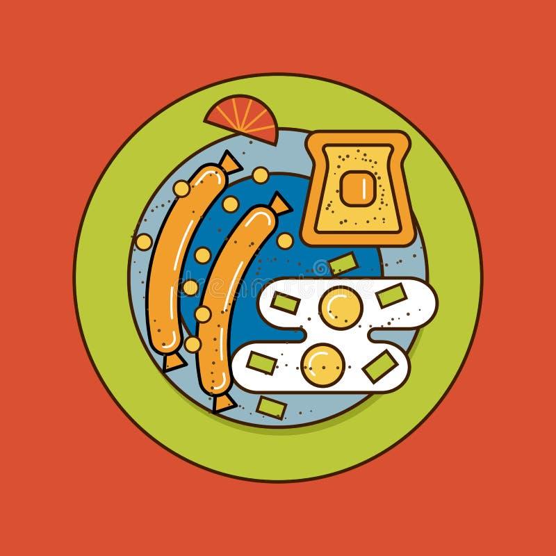 A ilustração do vetor da placa do café da manhã ilustração stock
