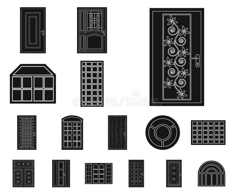 Ilustração do vetor da porta e do sinal dianteiro Coleção da porta e da ilustração conservada em estoque de madeira do vetor ilustração stock