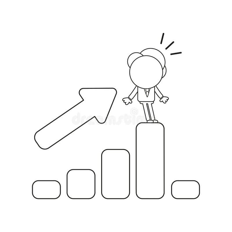 Ilustração do vetor da posição do caráter do homem de negócios nas vendas b ilustração royalty free