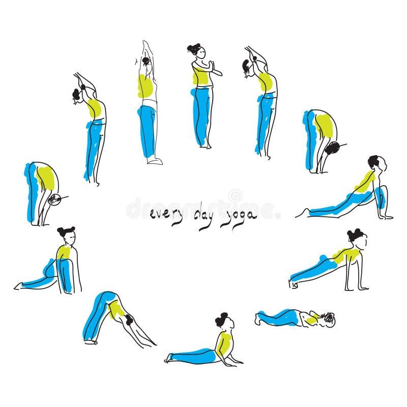 Ilustração do vetor da prática do asana da ioga Surya namaskar Ilustração praticando do vetor do asana da ioga da mulher ilustração stock