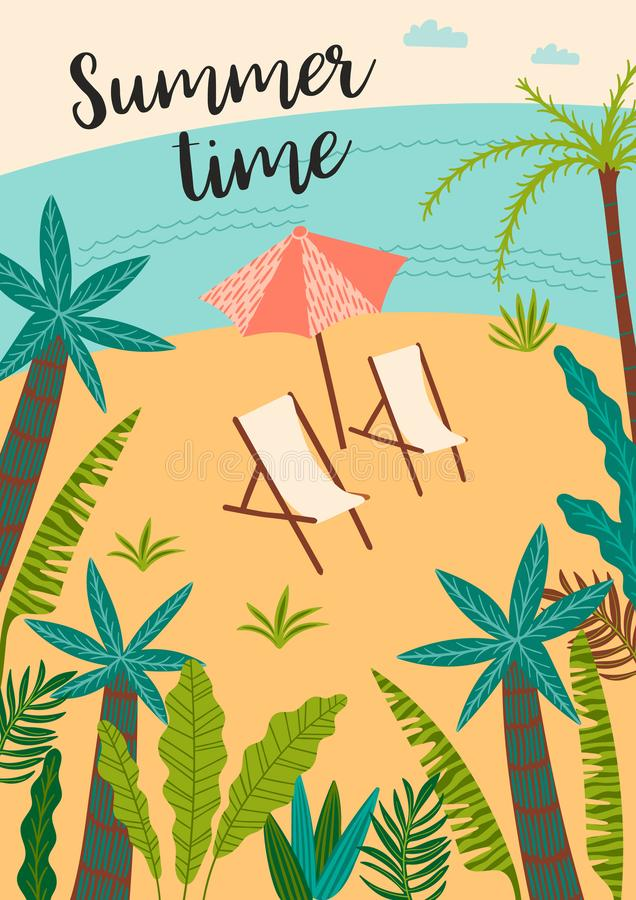 Ilustração do vetor da praia e do mar tropicais Elemento do projeto ilustração stock