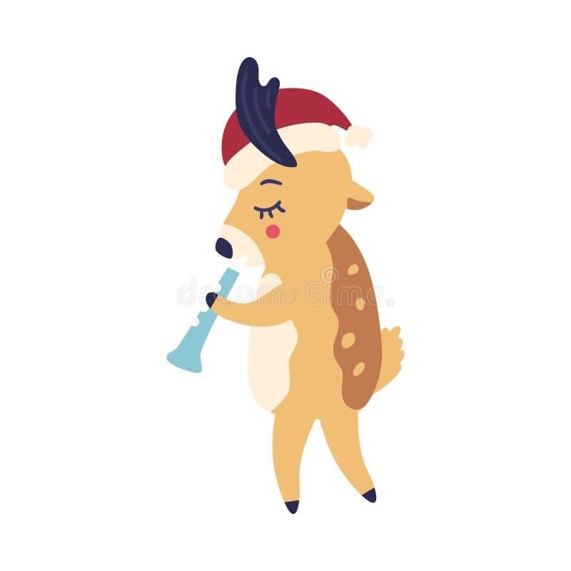 Ilustração do vetor da rena dos desenhos animados no chapéu de Santa que joga a tubulação musical ilustração stock