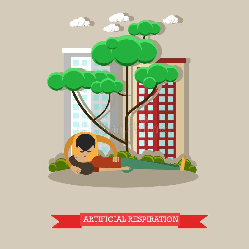Ilustração do vetor da respiração artificial no estilo liso ilustração stock