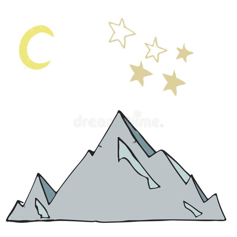 Ilustração do vetor da rocha da montagem do gelo da paisagem do iceberg e da lua das estrelas que tira o lugar azul do cartão  ilustração stock