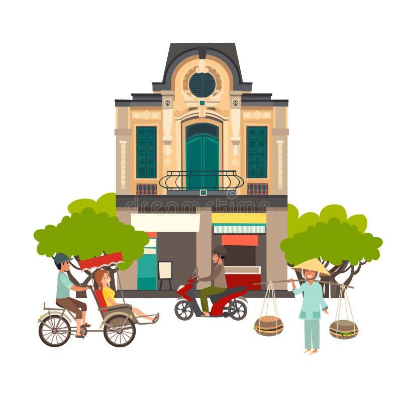 Ilustração do vetor da rua de Vietname ilustração royalty free