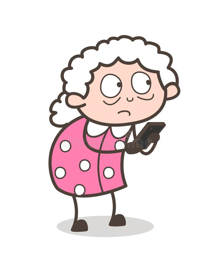 Ilustração do vetor da senhora idosa Thinking Before Chatting dos desenhos animados ilustração royalty free