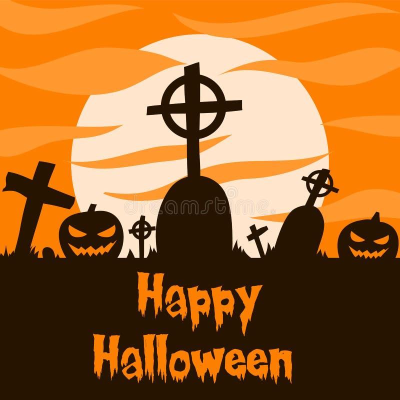 Ilustração do vetor da silhueta de grão e jack ou lanterna com luz lua para faixa de halloween também pode ser usada para aliment ilustração royalty free