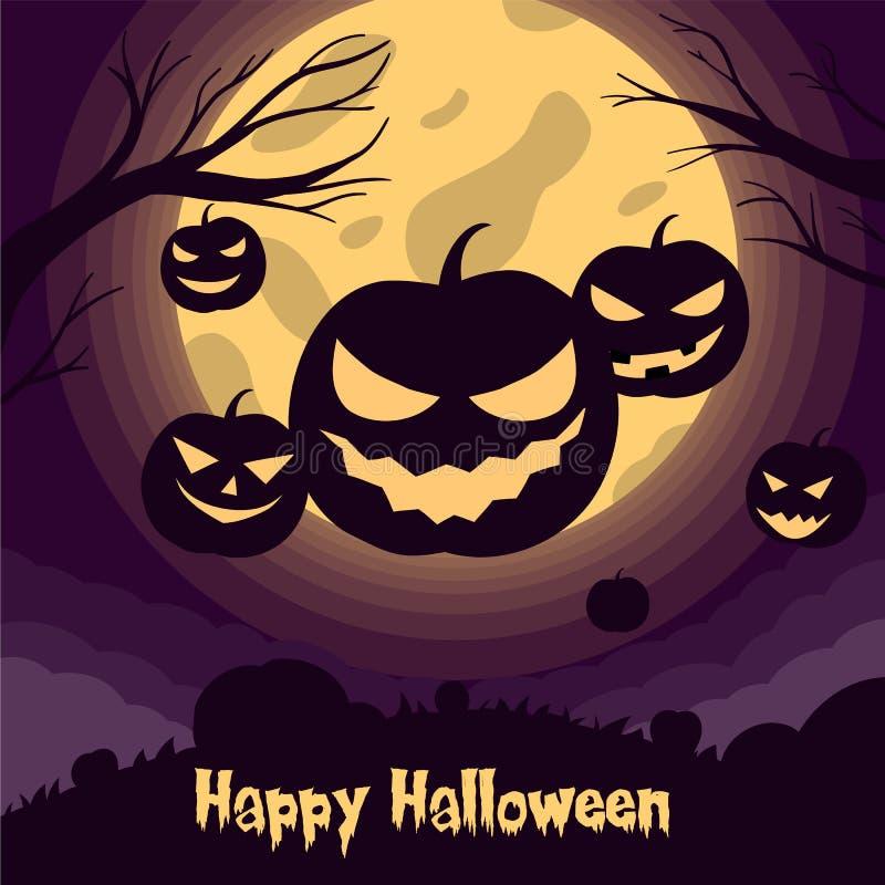 Ilustração do vetor da silhueta Jack o lanterna com luz lua para faixa de halloween também pode ser usada para alimentação social ilustração stock