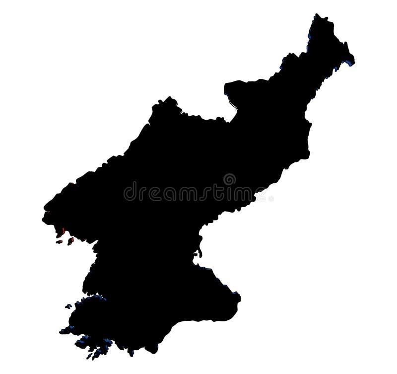 Ilustração do vetor da silhueta do mapa da Coreia do Norte ilustração royalty free