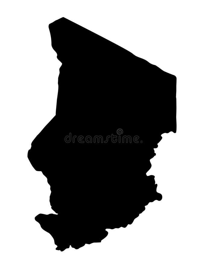 Ilustração do vetor da silhueta do mapa de Chade ilustração do vetor