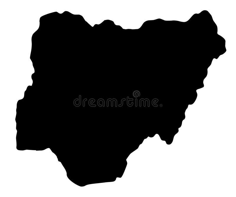 Ilustração do vetor da silhueta do mapa de Nigéria ilustração royalty free