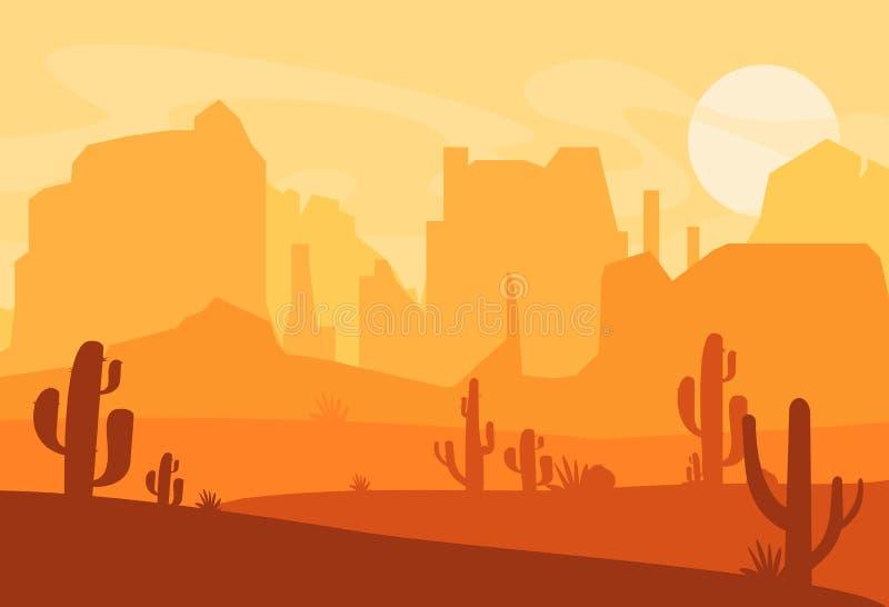 Ilustração do vetor da silhueta ocidental do deserto de Texas Cena ocidental selvagem de América com por do sol no deserto com mo ilustração do vetor
