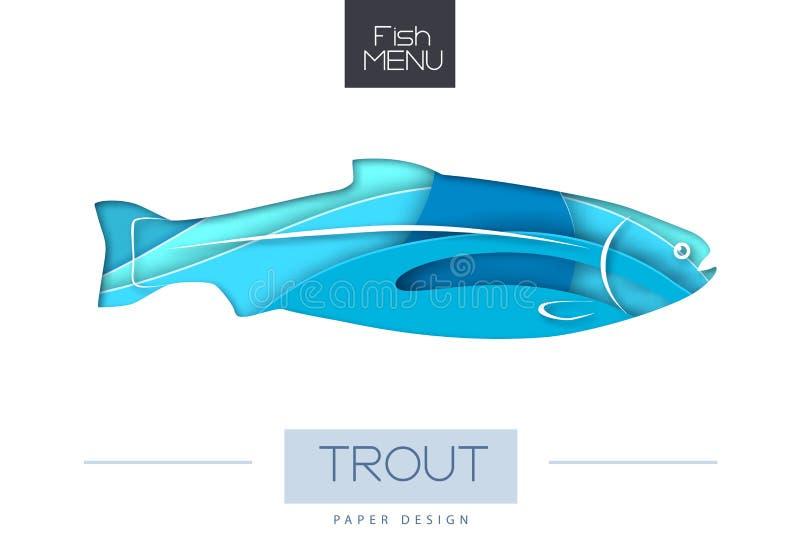 Ilustração do vetor da silhueta da truta dos peixes Projeto cortado do estilo da arte do papel ilustração do vetor