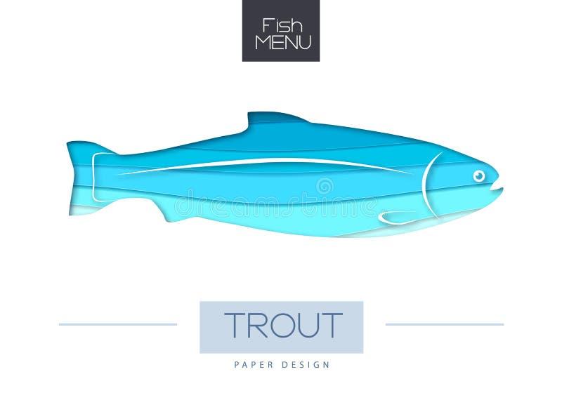 Ilustração do vetor da silhueta da truta dos peixes Projeto cortado do estilo da arte do papel ilustração royalty free