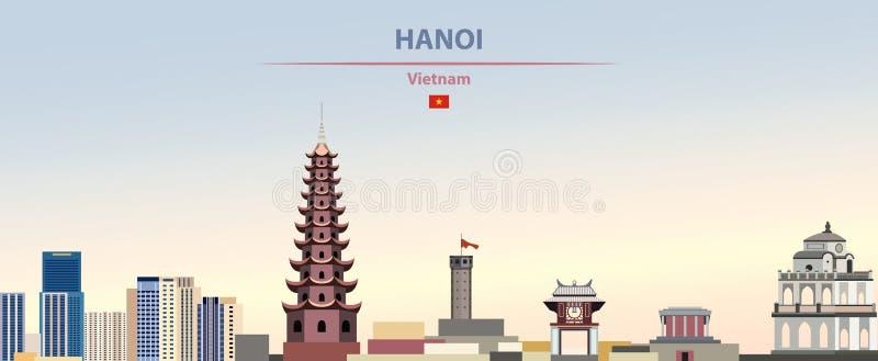Ilustração do vetor da skyline da cidade de Hanoi no fundo bonito do dia do inclinação colorido ilustração do vetor