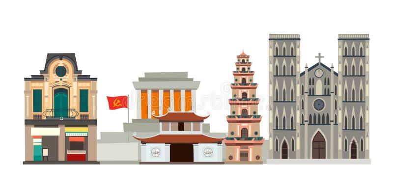 Ilustração do vetor da skyline de Vietname Rua abstrata com casa dianteira, pagode ilustração stock