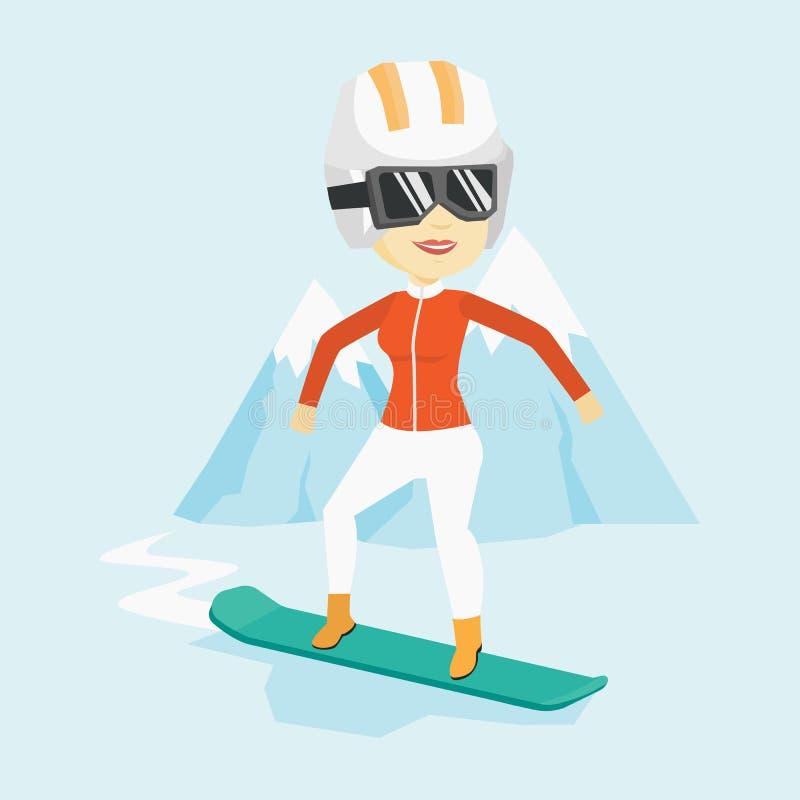 Ilustração do vetor da snowboarding da jovem mulher ilustração royalty free