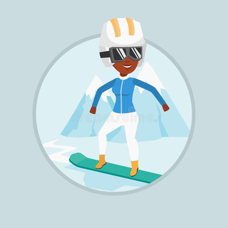 Ilustração do vetor da snowboarding da jovem mulher ilustração do vetor