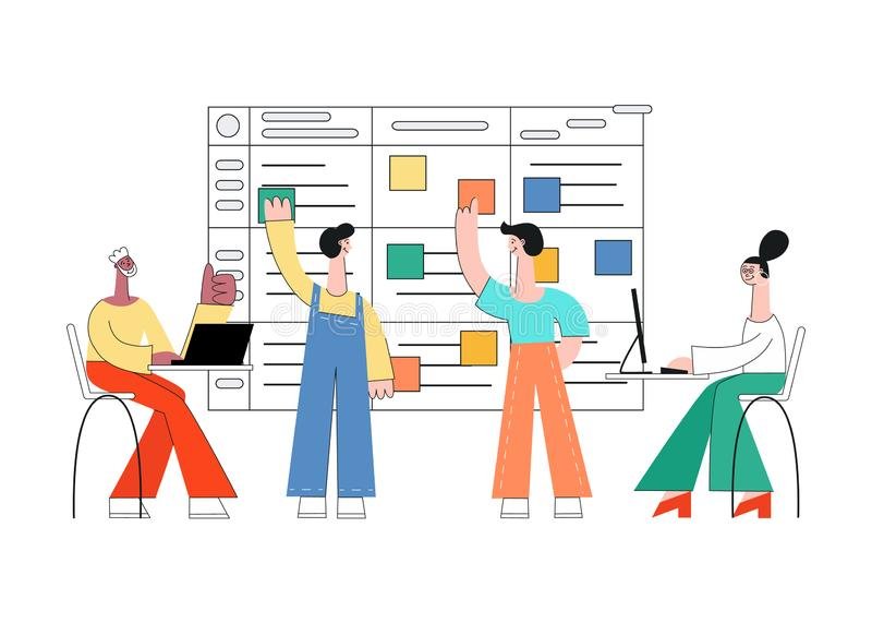 Ilustração do vetor da técnica do planeamento do scrum dos trabalhos de equipe na programação de software ilustração do vetor