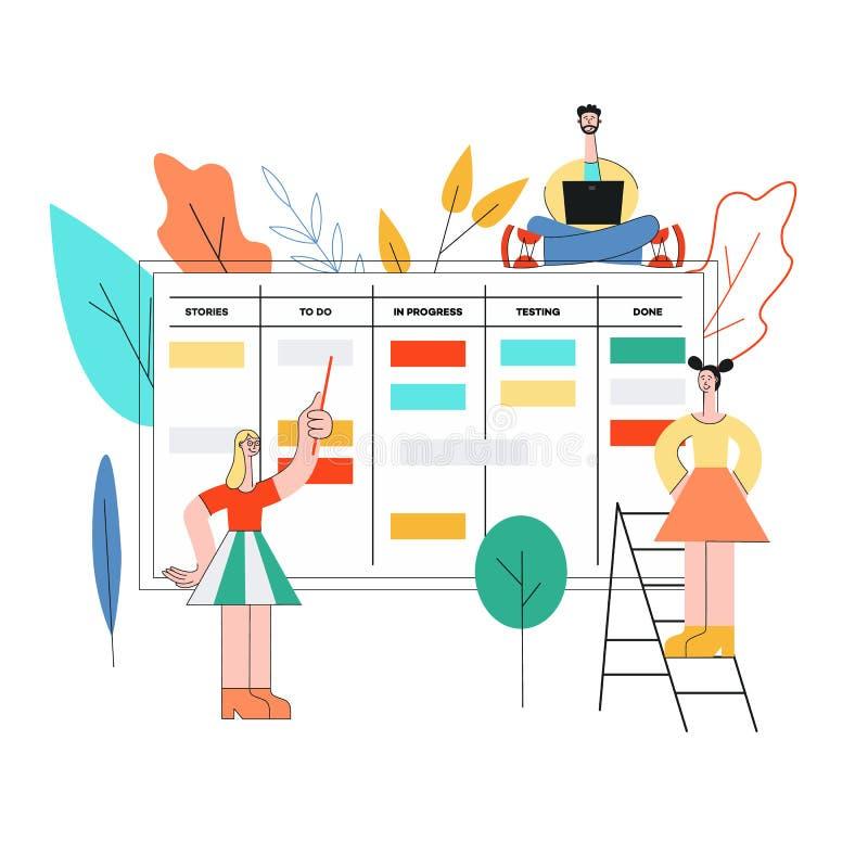 Ilustração do vetor da técnica do planeamento do scrum dos trabalhos de equipe na programação de software ilustração royalty free