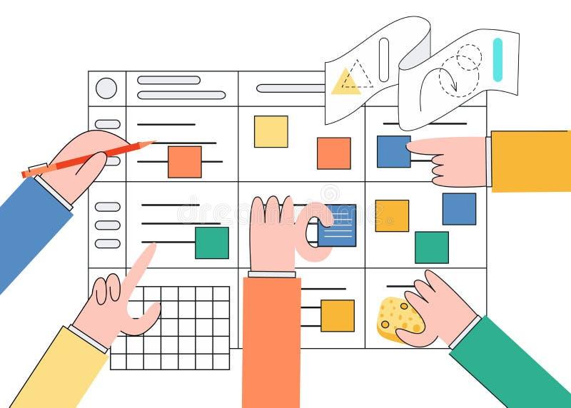 Ilustração do vetor da técnica do planeamento do scrum dos trabalhos de equipe na programação de software no estilo liso na moda ilustração do vetor