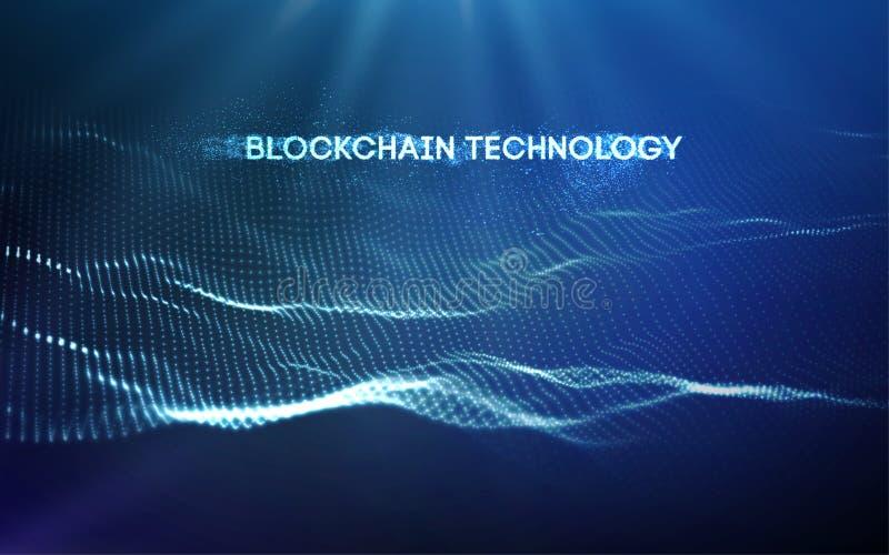 ilustração do vetor da tecnologia do blockchain do fundo 3D ilustração do vetor