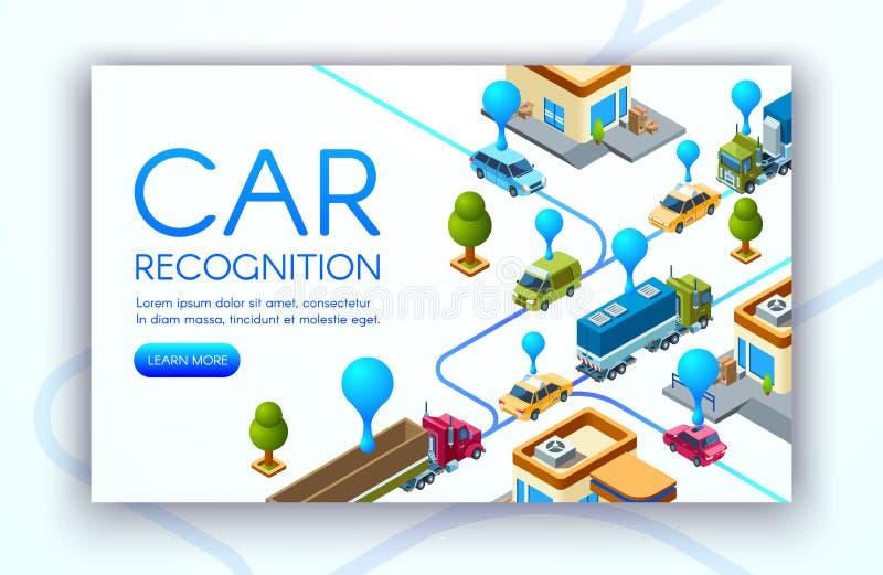 Ilustração do vetor da tecnologia do reconhecimento do carro ilustração stock