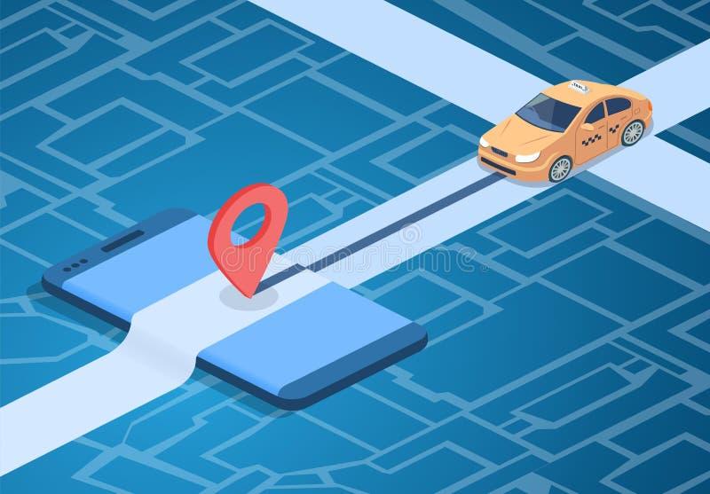 Ilustração do vetor da tecnologia do serviço online do táxi ilustração do vetor