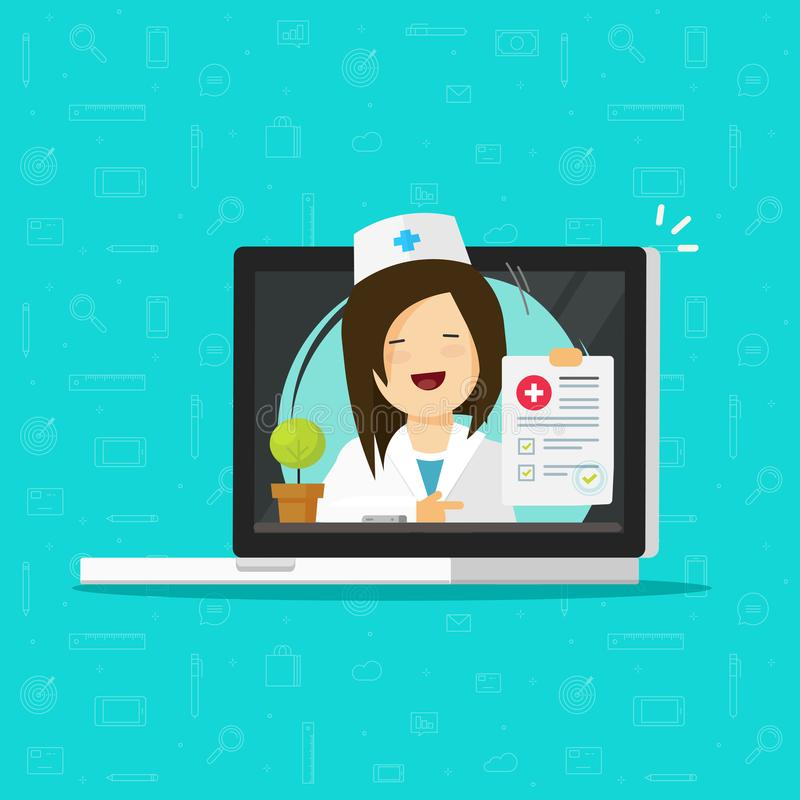 A ilustração do vetor da telemedicina, caráter liso do doutor que consulta em linha através do laptop, médico da mulher dá a dist ilustração do vetor