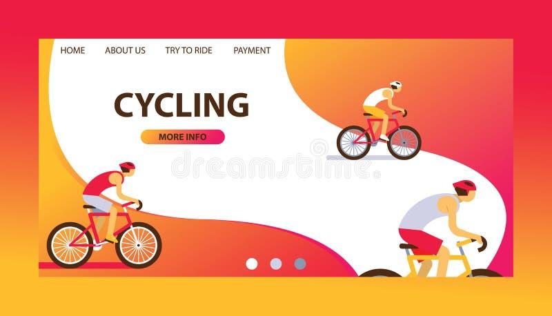 Ilustração do vetor da trilha do Triathlon Projeto de ciclagem do Web site Ciclistas masculinos dos desenhos animados que montam  ilustração royalty free
