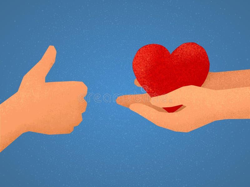 Ilustração do vetor da troca dos gostos: mão que mostra os polegares acima e os braços que dão o símbolo vermelho do coração ilustração royalty free