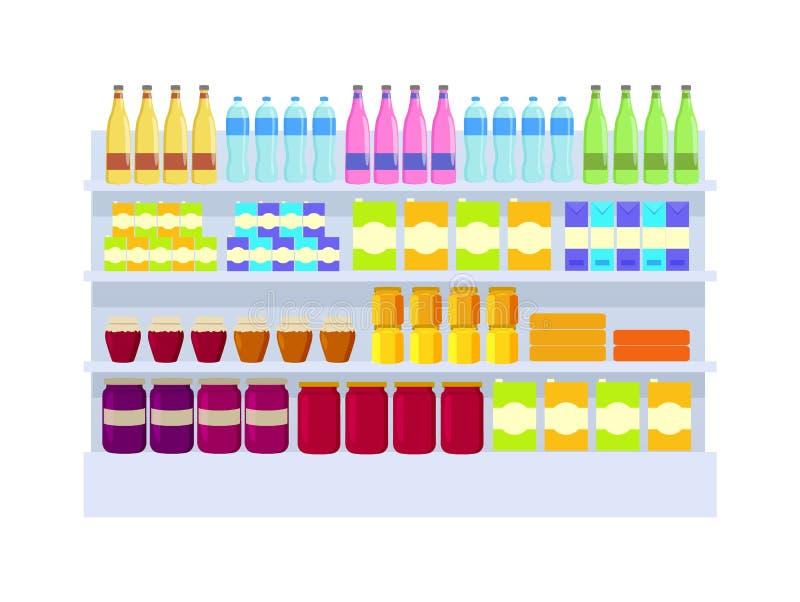 Ilustração do vetor da variedade dos produtos do supermercado ilustração do vetor