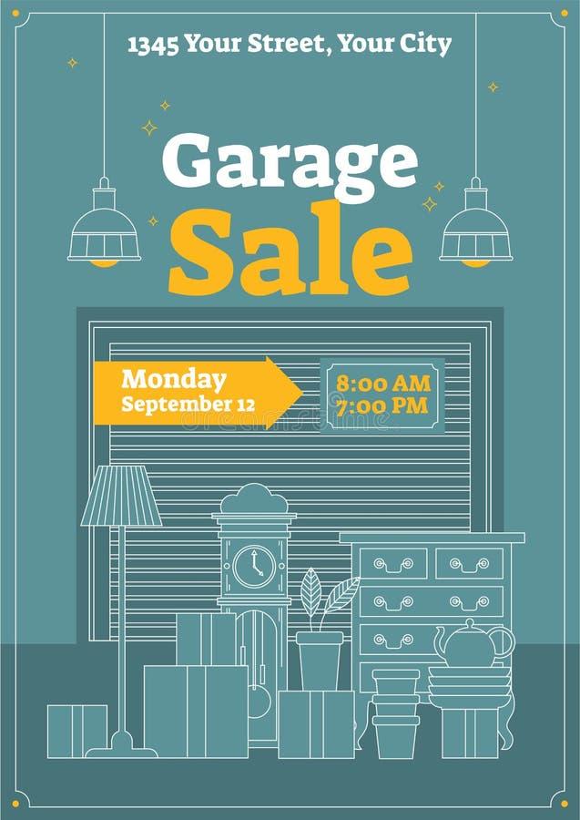 Ilustração do vetor da venda de garagem Cartaz, cartaz ou panfleto comercial para o evento Armazene e compre para vender artigos  ilustração do vetor