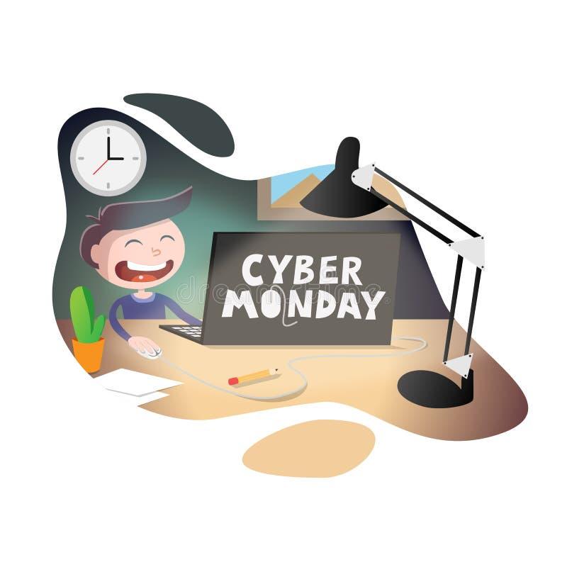 Ilustração do vetor da venda de segunda-feira do Cyber Homem de negócios de sorriso feliz novo que senta-se na mesa e que trabalh ilustração do vetor