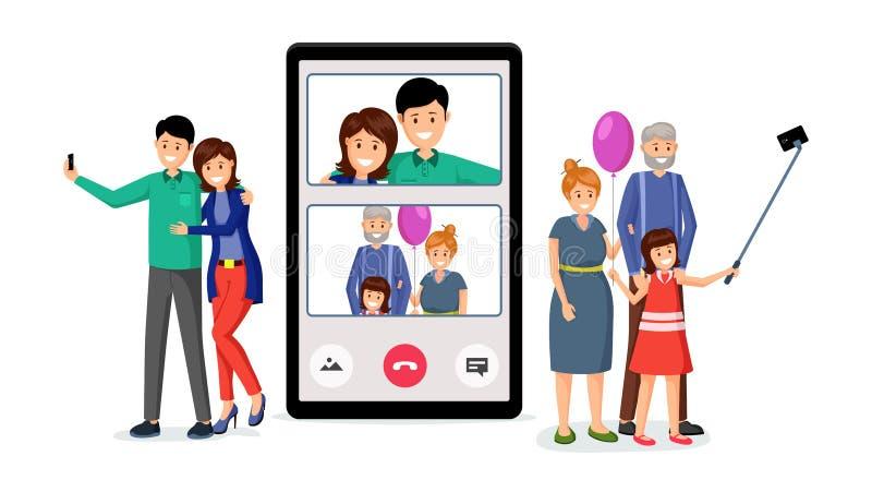Ilustração do vetor da videoconferência da família ilustração royalty free