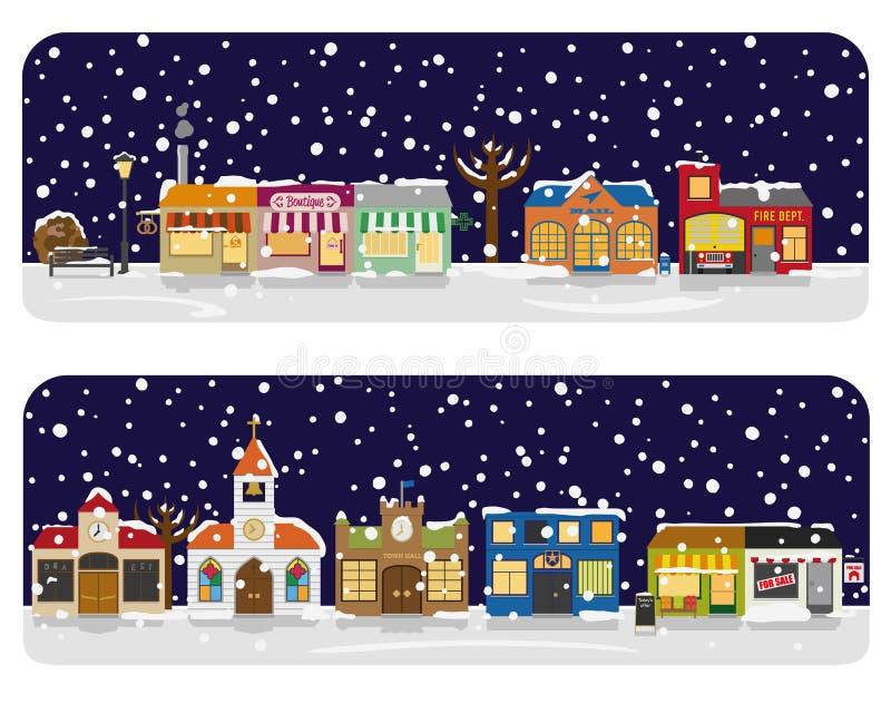 Ilustração do vetor da vizinhança de Main Street da vila do inverno ilustração royalty free