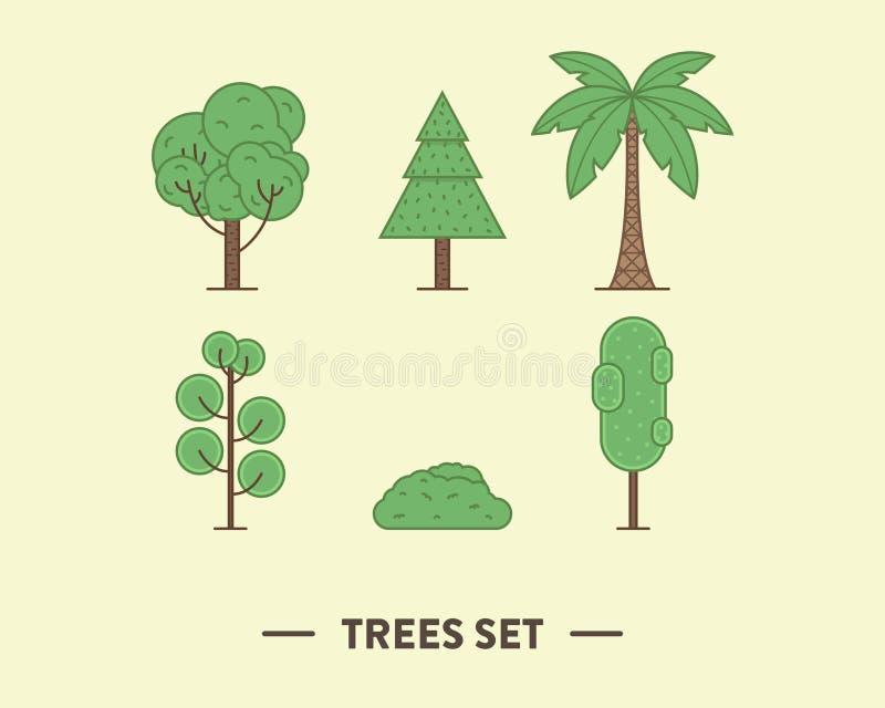 A ilustração do vetor das árvores verdes ajustou-se com a imagens de stock