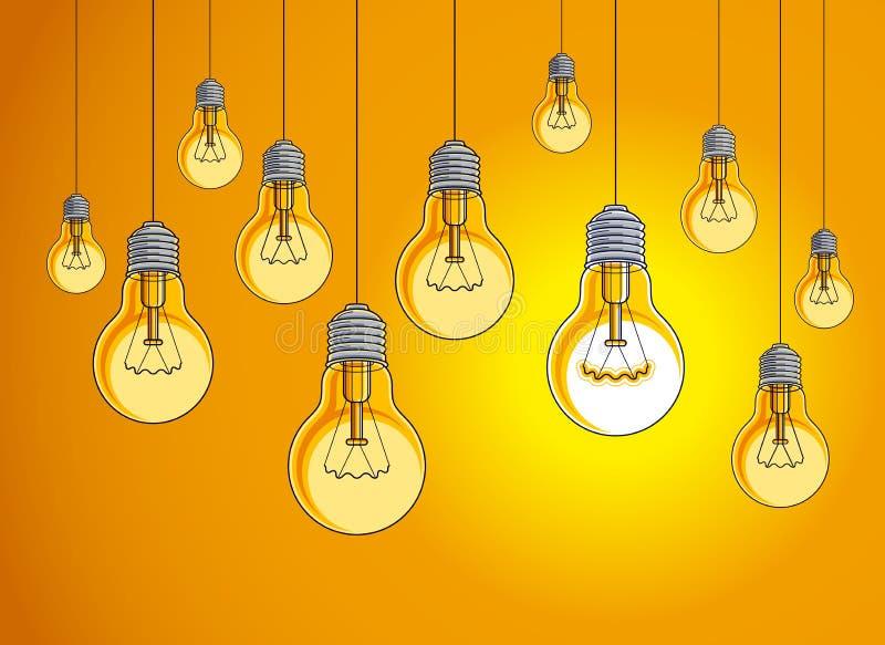 A ilustração do vetor das ampolas do conceito da ideia com a única está brilhando, pensa diferente, faculdade criadora, para ser  ilustração do vetor