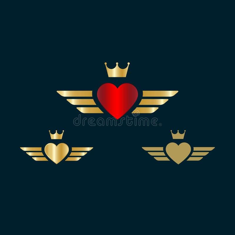 Ilustração do vetor das asas do coração do Valentim Coração e coroa com ícone dourado das asas ilustração do vetor