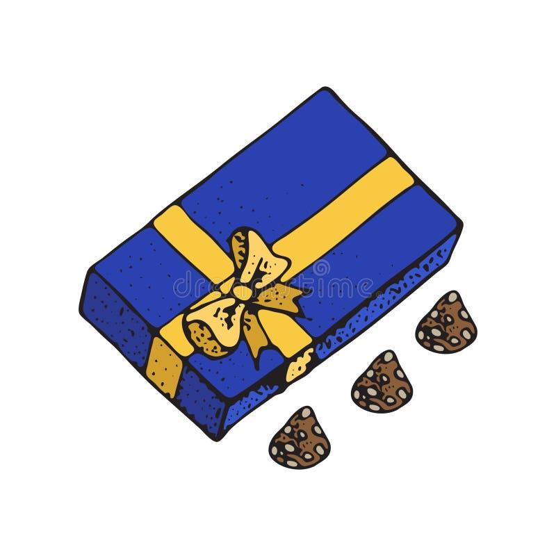 Ilustração do vetor das caixas de presente com candys do chocolate Para a celebração do aniversário, Natal, Valentim, partido, an ilustração royalty free