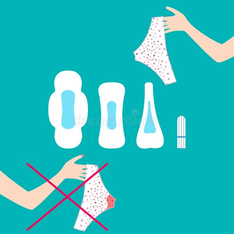 Ilustração do vetor das calças com gotas do sangue menstrual no período, no tampão e nas almofadas de revistas mensais das mulher ilustração royalty free