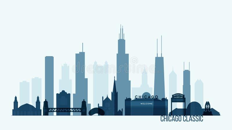 Ilustração do vetor das construções da skyline de Chicago ilustração stock