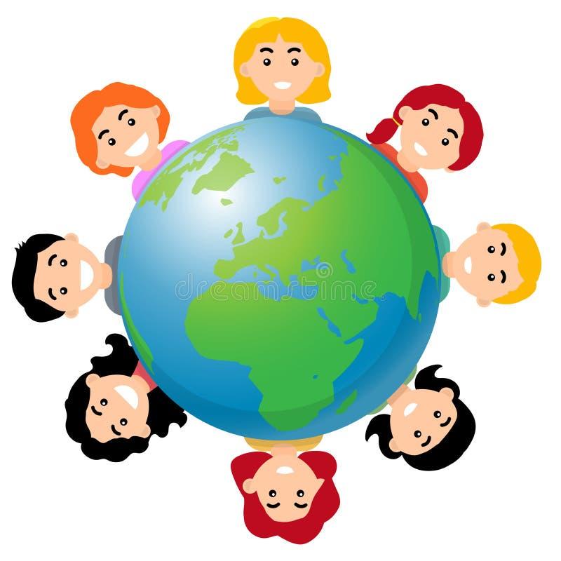 Ilustração do vetor das crianças em todo o mundo - ilustração stock