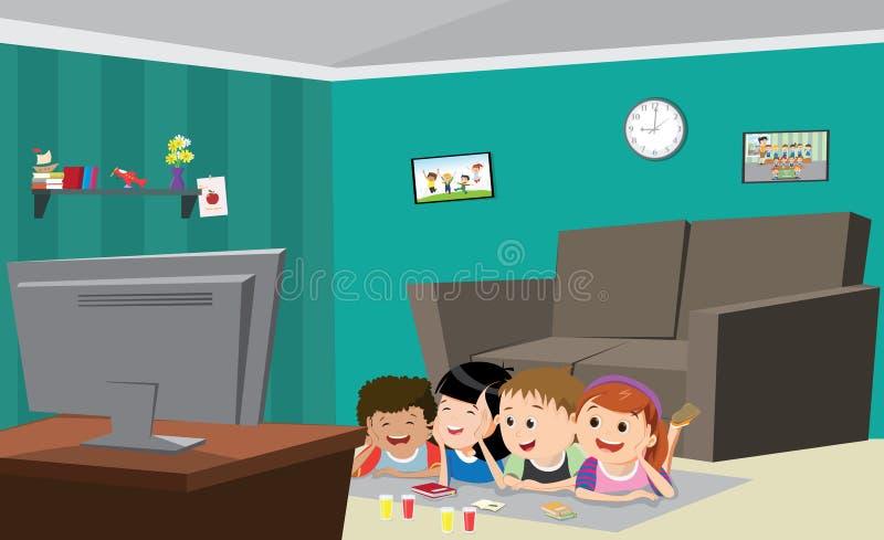 Ilustração do vetor das crianças que olham a tevê ilustração stock
