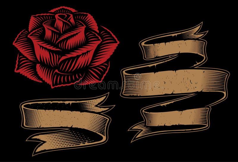 Ilustra??o do vetor das fitas e da rosa no fundo escuro imagem de stock royalty free