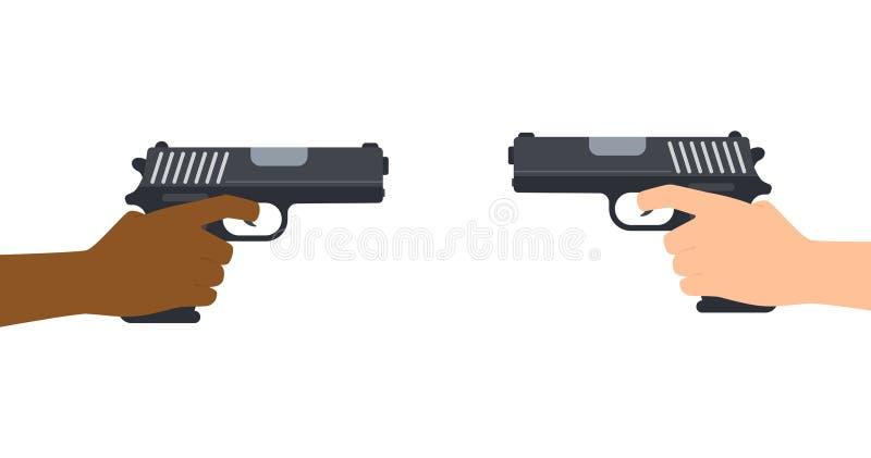 Ilustração do vetor das mãos posse e apontar duas armas ilustração stock
