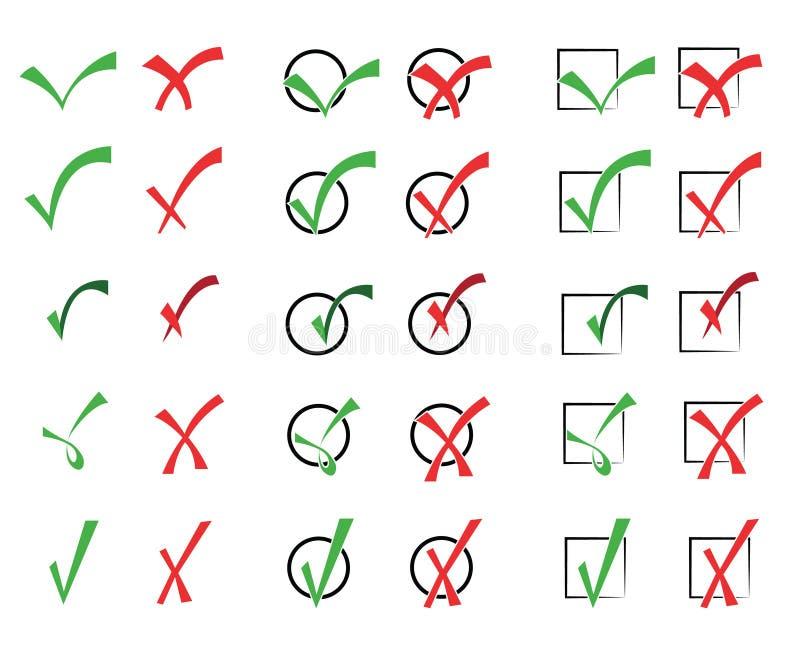 Ilustração do vetor das marcas de verificação 2 ilustração royalty free