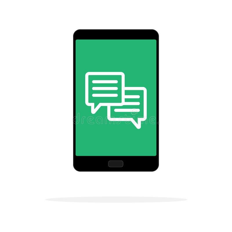 Ilustração do vetor das notificações da mensagem do bate-papo do telefone celular isolada no fundo da cor, e discursos de convers ilustração royalty free