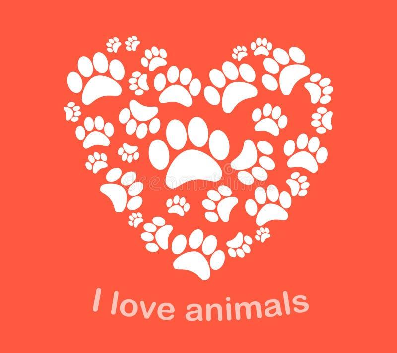 Ilustração do vetor das pegadas do animal do coração ilustração royalty free