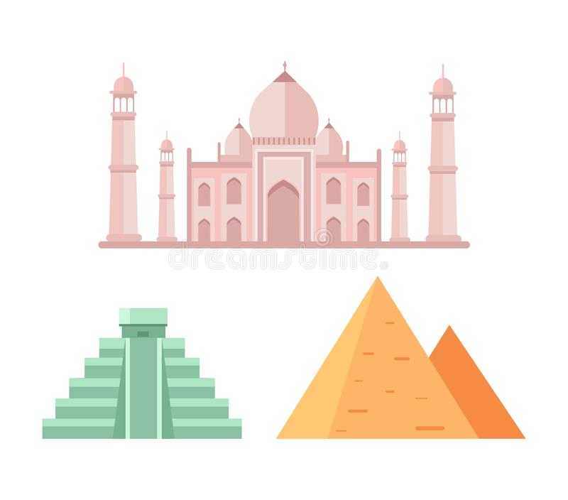 Ilustração do vetor das pirâmides do Maya e do egípcio ilustração stock